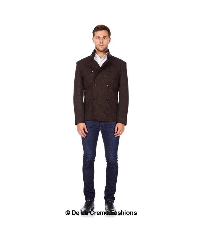 De La Creme Dark Grey Tweed Reefer Coat