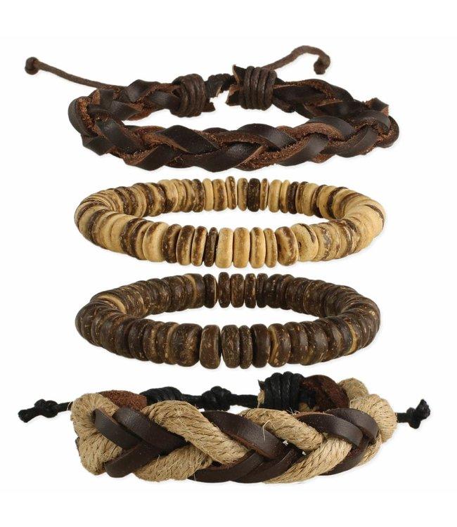 Zad Beach Wood & Cord Bracelet Set