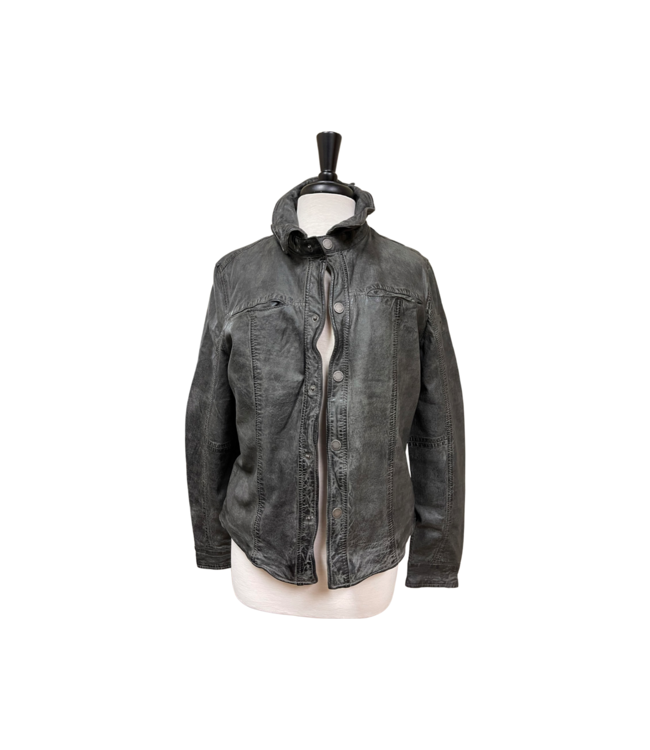 Mauritius Tace RF Grey Distressed Leather Jacket