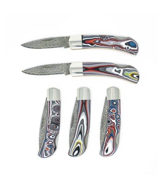 """Santa Fe Stoneworks 3"""" Damascus Lockback Knife in Fordite"""