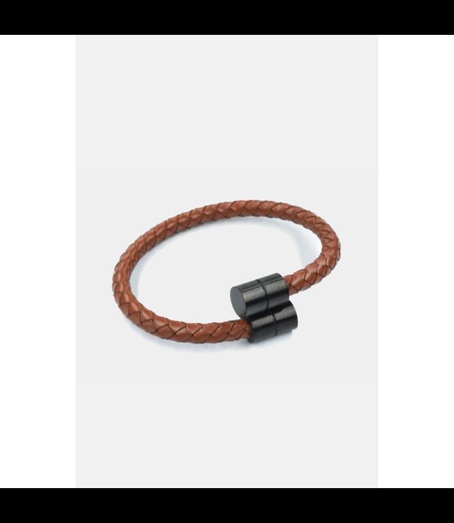 Curated Basics Brown Leather Black Steel Bracelet