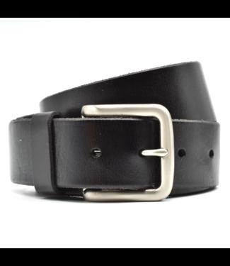 Curated Basics Black Leather on Steel Buckle Belt