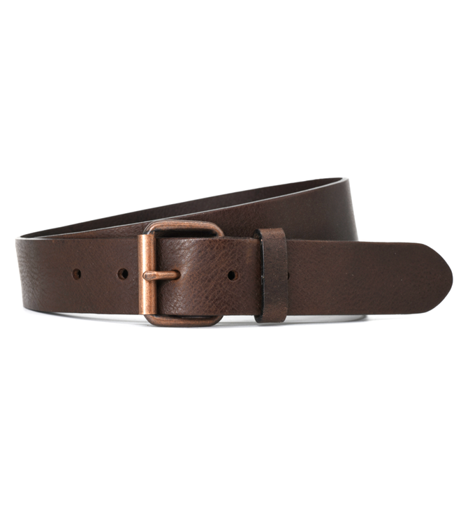 Curated Basics Brown Leather With Cooper Buckle Belt
