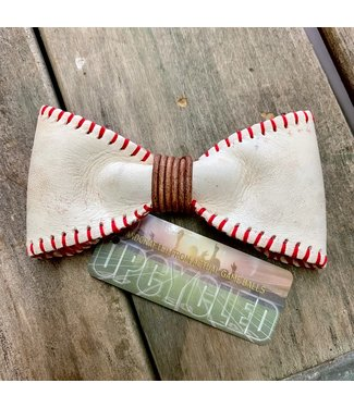 Landfill To Luxury Leather Baseball Bow Tie