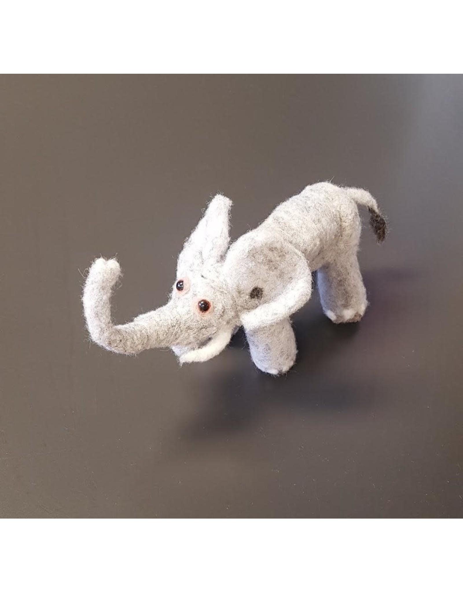 Dzama, Jeanette & Maurice Light Gray Elephant, Needle Felted Animal by Jeanette and Maurice Dzama