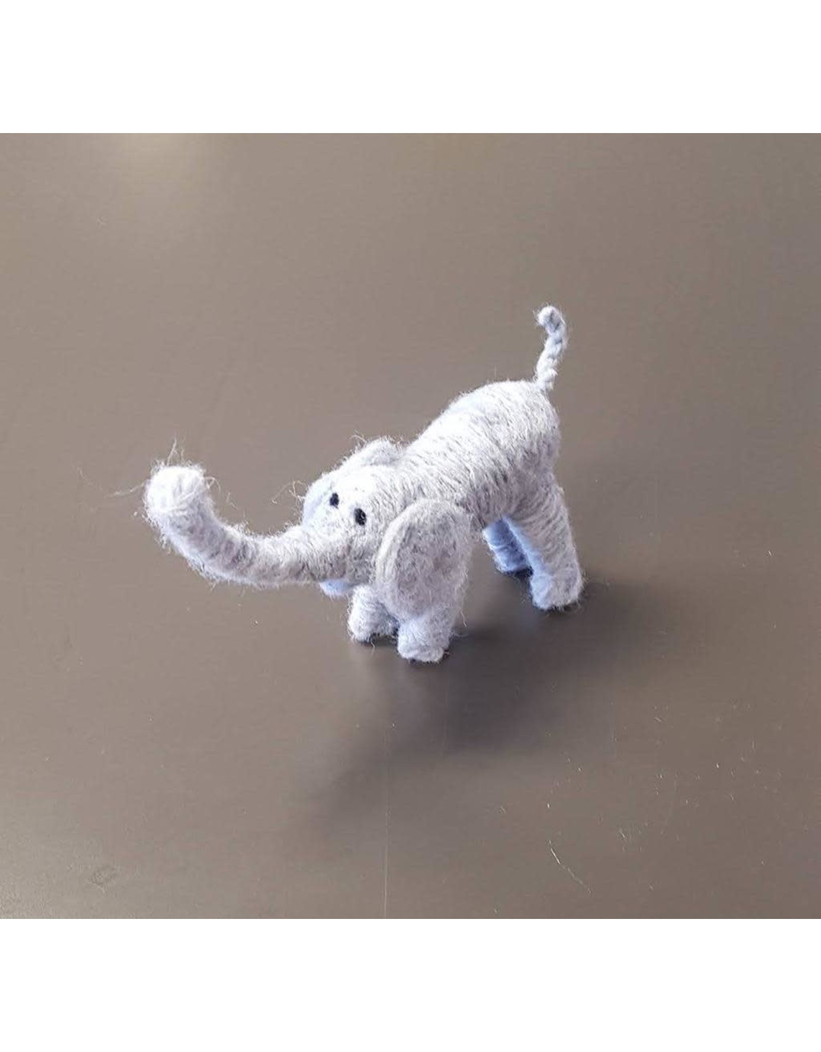 Dzama, Jeanette & Maurice Small Blue Elephant, Needle Felted Animal by Jeanette and Maurice Dzama