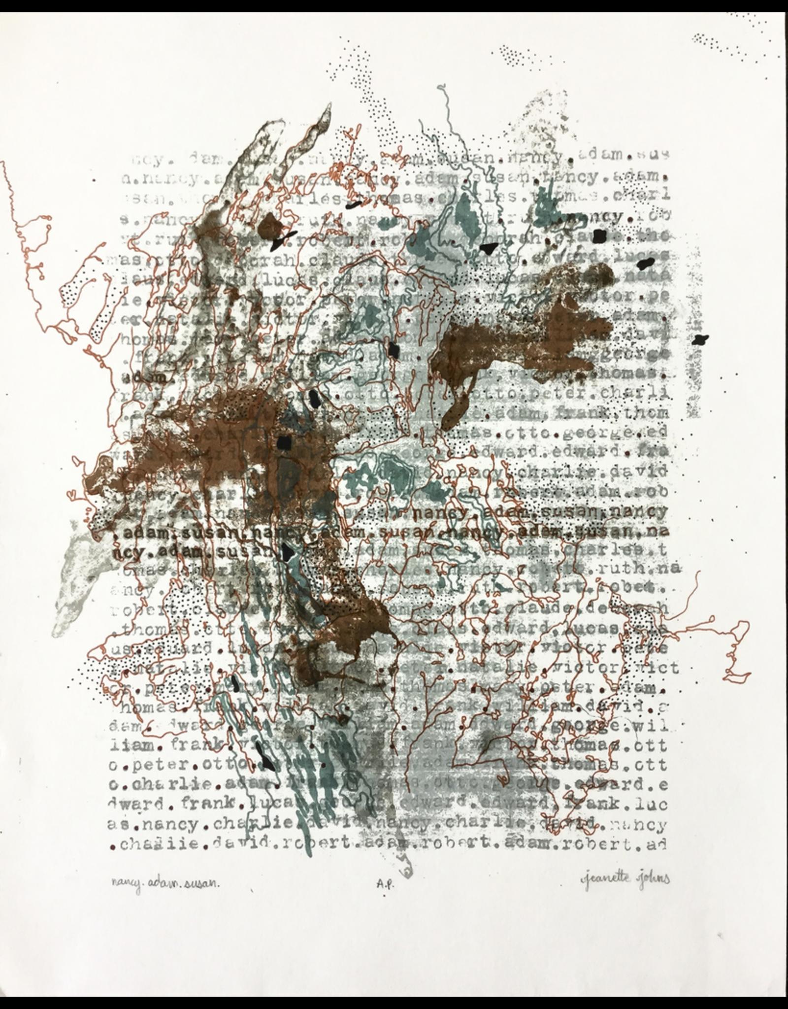 Johns, Jeanette nancy.adam.susan Jeanette Johns Medium: Screenprint, Handwork Year: 2008 Artist Proof Image Height (in): 12.25 Image Width (in): 11 Paper Height (in): 14 Paper Width (in): 11  I
