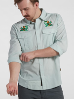 Howler Bros Gaucho Snapshirt Seafoam Microstripe: Two-cans