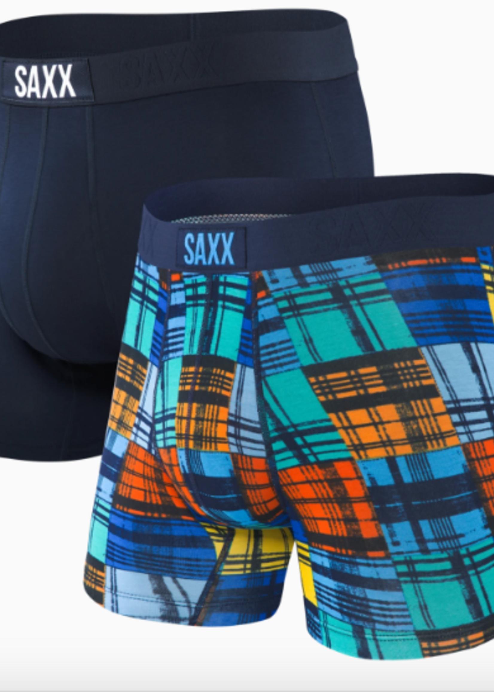 Saxx Vibe Boxer Brief 2 Pack Navy/Blue Ocean Plaid