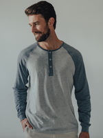 The Normal Brand Active Henley LS Blue/Grey