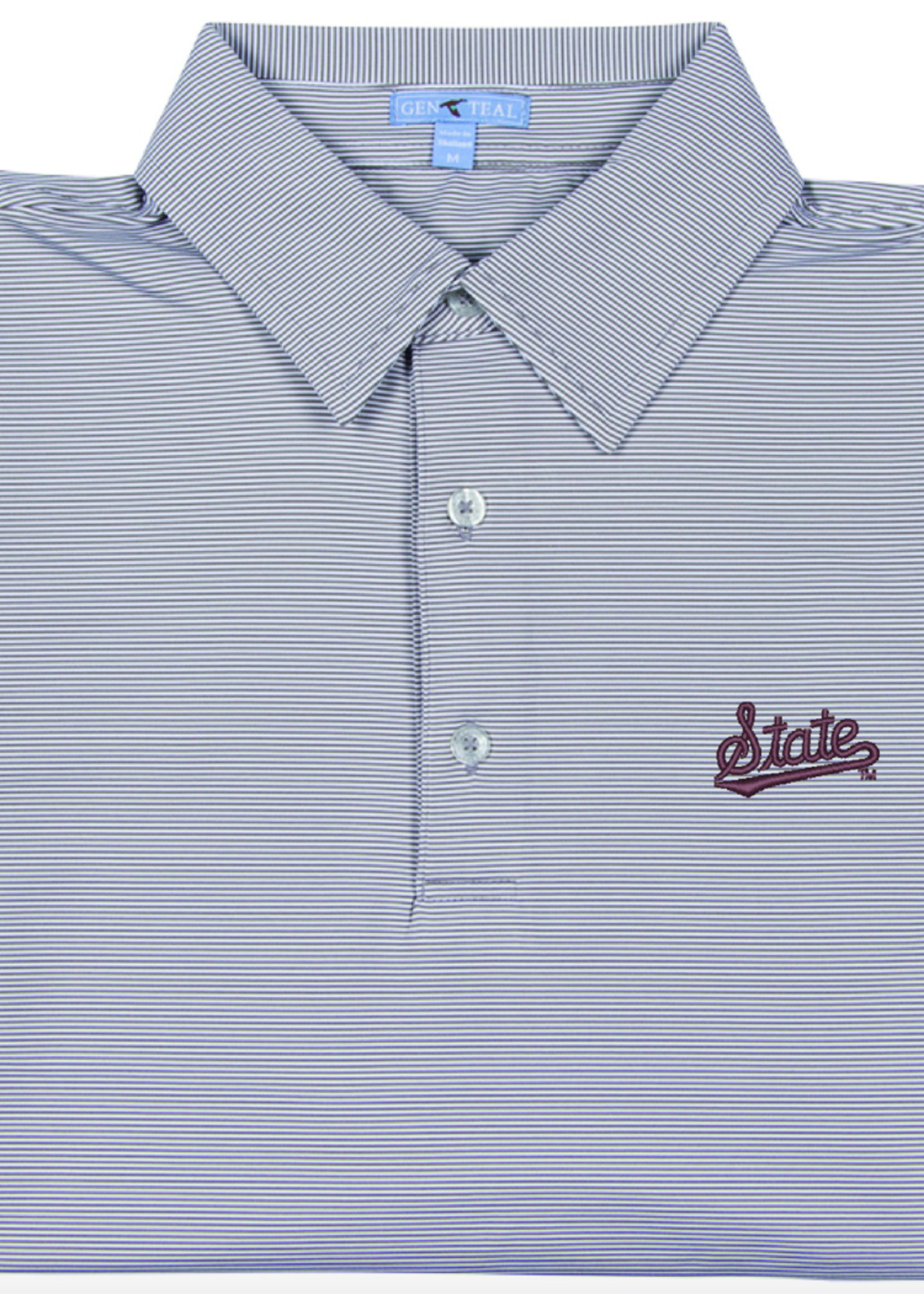 GenTeal Apparel Mississippi State Script Charcoal Pinstripe Polo