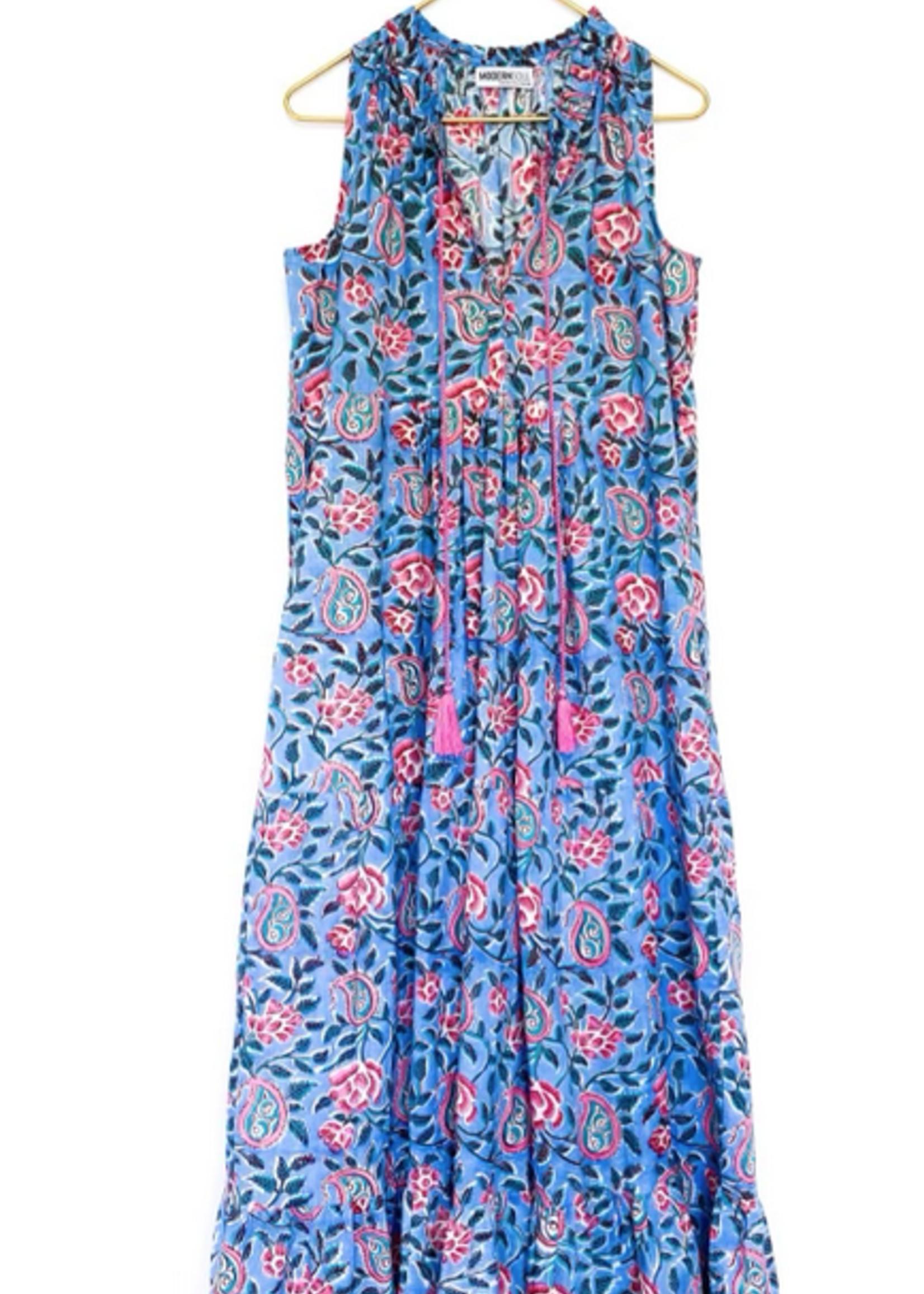 Modern Soul Sky Ruffle Maxi Dress