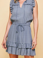 PINCH Sleeveless Chambray Ruffle Dress