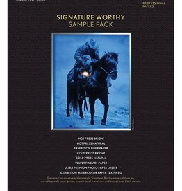 """Epson Epson Signature Worthy Sample Pack 8.5"""" x 11"""" - 14 sheets. Includes 2 each of: Hot Press Bright, Hot Press Natural, Exhibition Fiber Cold Press Bright, Cold Press Natural, Velvet Fine Art Paper, Ultra Premium Photo Paper Luster."""