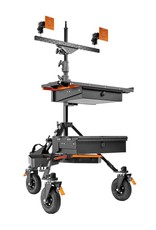 Inovativ Inovativ AXIS Command Station. Includes the AXIS Stand + Wheel System, WorkSurface Pro, Dual Bar with two Pro Monitor Mounts and 2 Baby Pins, Case Platform with Bottom Drawer, 2 x Trough, and Weight Hanger + 25lb Weight Bag.