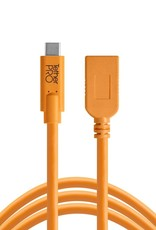 Tether Tools Tether Tools TetherPro USB-C to USB Female Adapter (extender), 15' (4.6m), High-Visibility Orange