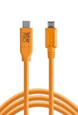 Tether Tools Tether Tools TetherPro USB-C to 2.0 Micro-B 5-Pin, 15' (4.6m), High-Visibility Orange