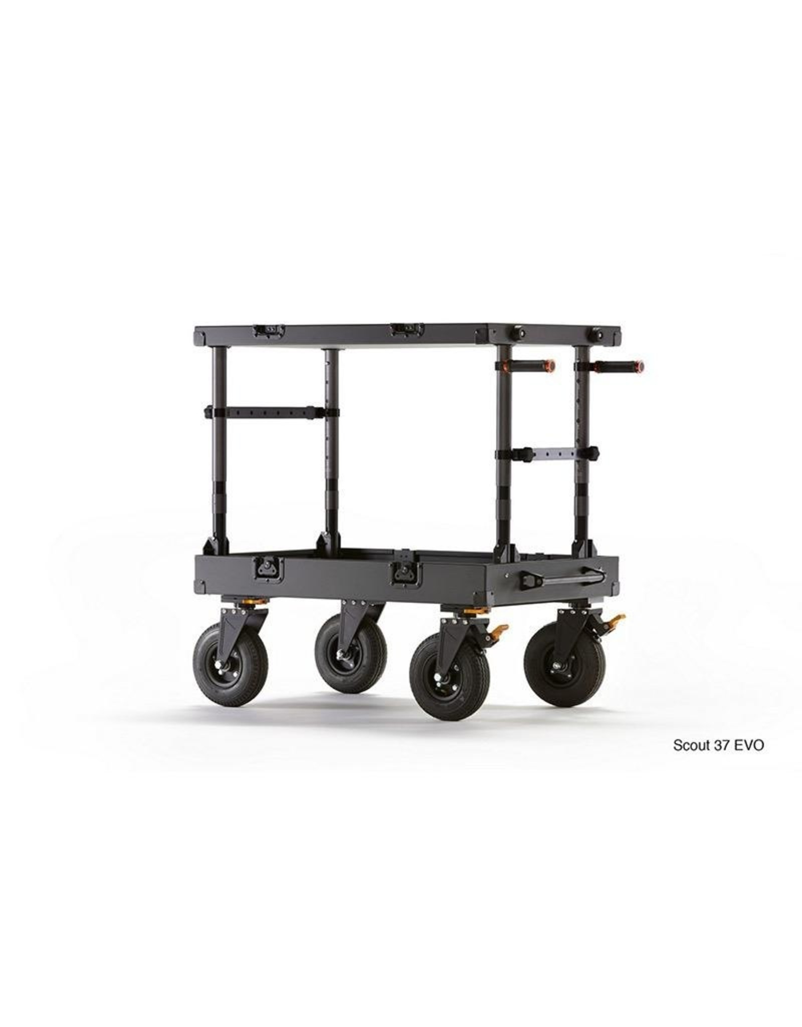 "Inovativ Scout 37 EVO Cart, 37.5x24x7"", weight 64lbs. - includes: Top & Bottom Shelf, 1 Set Quick Grips, 2 Crossbars, Magnetic Assist Latches, Foot Brake System, Removable sealed bearing aluminum dovetail wheel system"