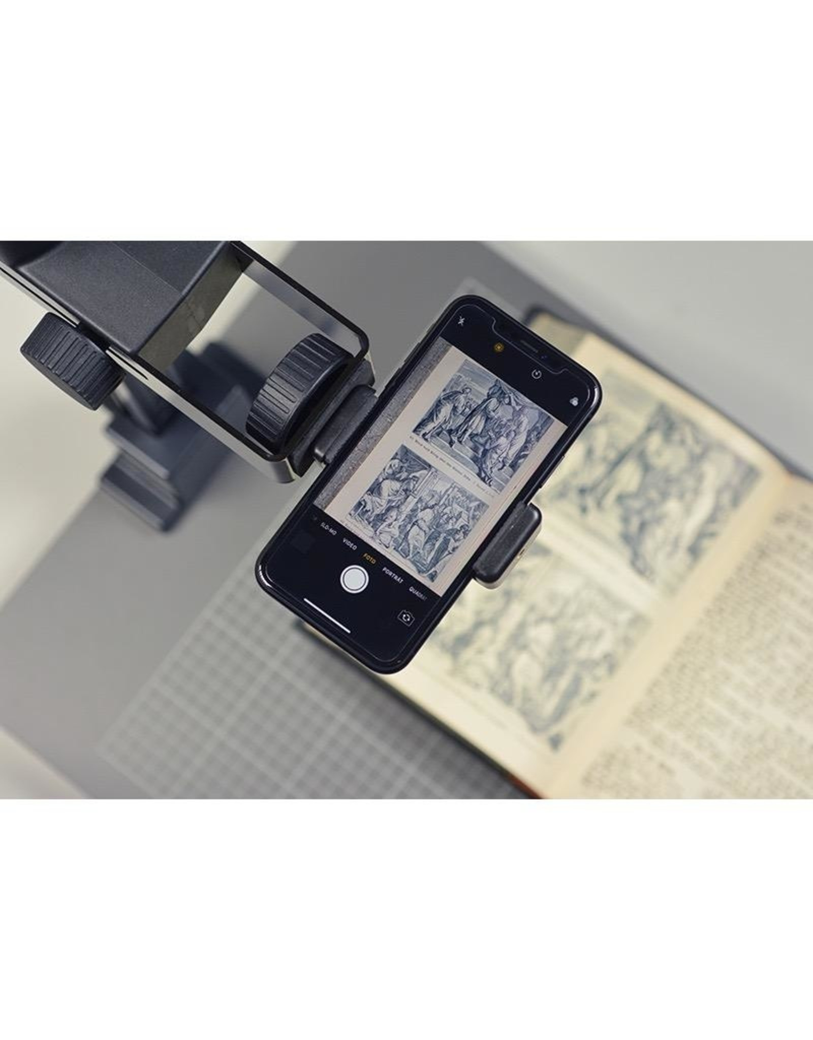 """Kaiser Kaiser Smartphone Holder, Clamp span 56-85 mm (2.2 - 3.5 in.), with two tripod threads 1/4"""""""