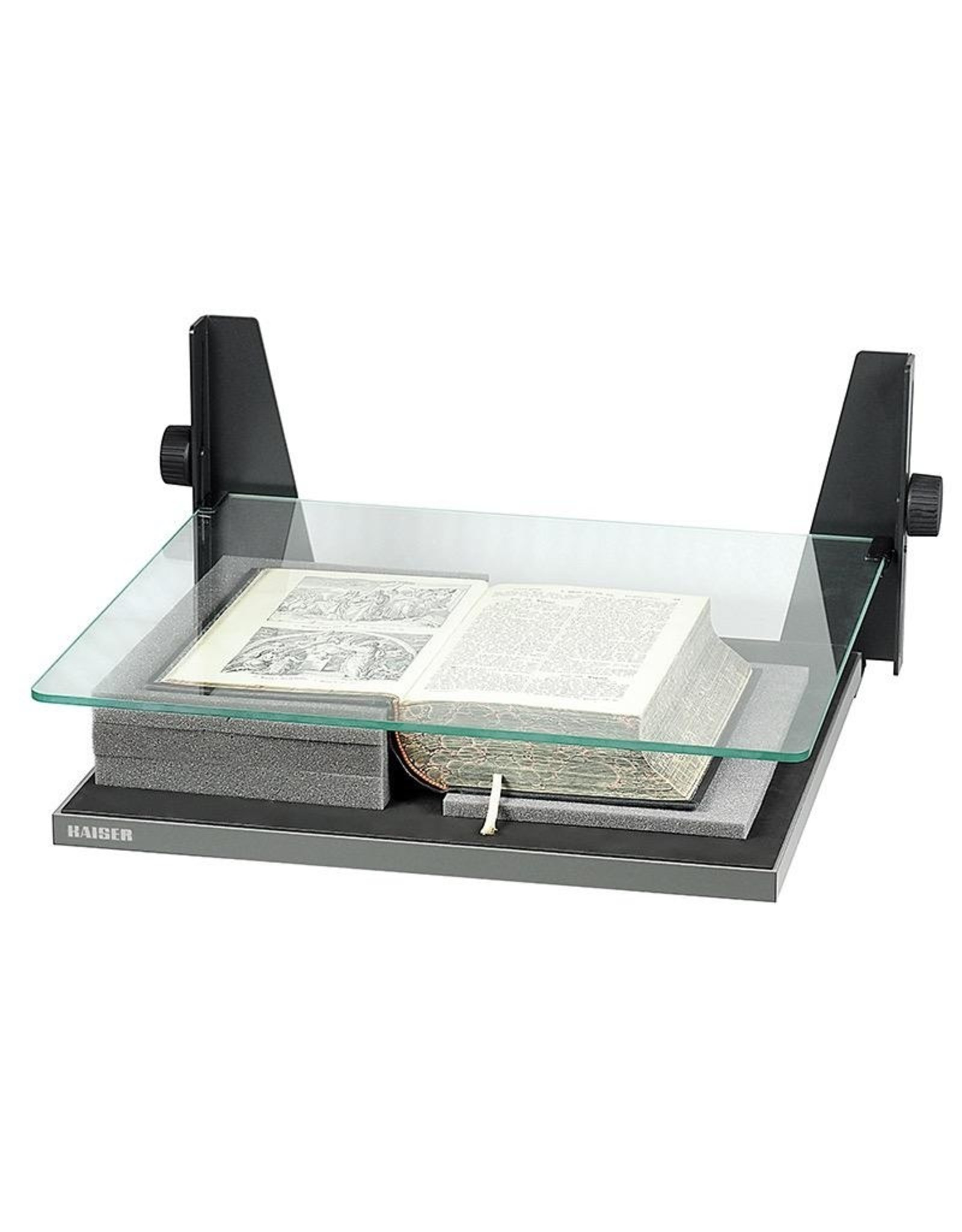 "Kaiser Kaiser Book Holder for books up to 44 x 41 cm (17.3 x 16.1""), glass plate, height adjustable up to 145mm (5,7""), incl. foam sheets for height adjustment"