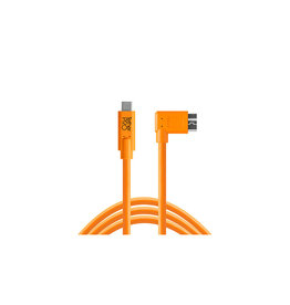 Tether Tools Tether Tools TetherPro USB-C to 3.0 Micro-B Right Angle, 15' (4.6m), High-Visibility Orange