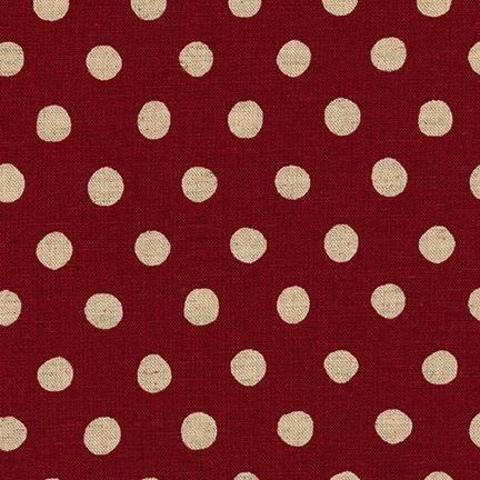 Robert Kaufman Sevenberry Canvas Natural Dots Red
