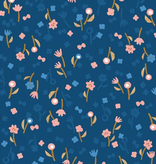 Cotton + Steel Neko and Tori by Cotton + Steel Flower Picking Blue Rayon