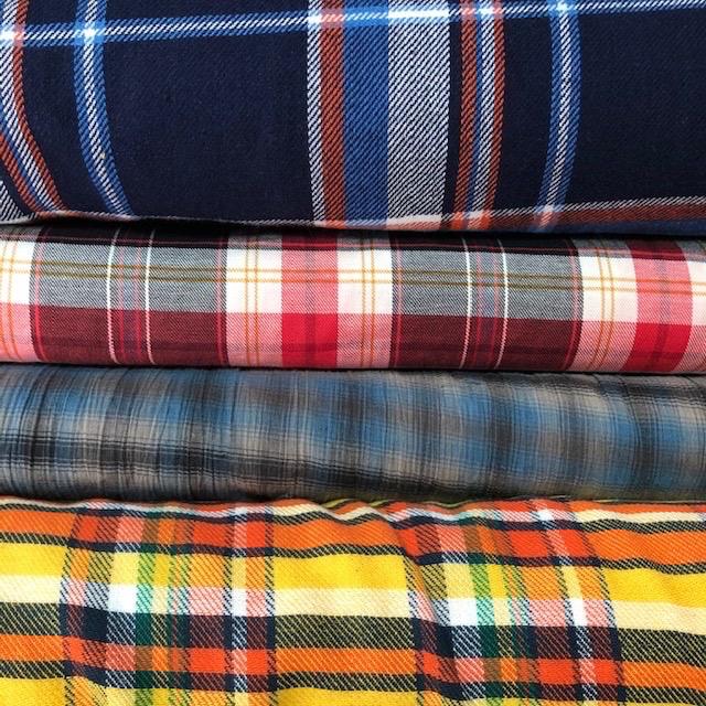 Fabric Mart Navy / Orange Twill Plaid