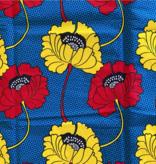 Fabrics USA Inc Ankara Wax Print— Large yellow and red poppies on blue background