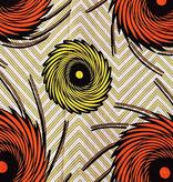 Fabrics USA Inc Ankara Wax Print— Yellow and Orange Firework swirls