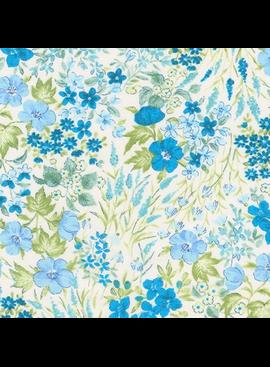 Robert Kaufman Sevenberry Petite Garden Lawn Blue