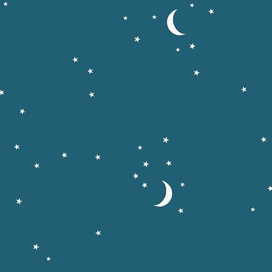 Andover Moon and Stars Teal by Andover Fabrics