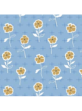 FIGO Rollakan by Cathy Nordstrom Rayon Flower Garden Blue