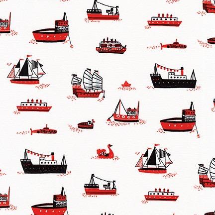 Robert Kaufman Hello Lucky White Ships