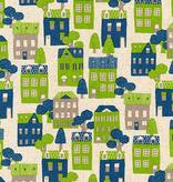 Robert Kaufman Sevenberry Cotton Flax Prints Blue Green Houses