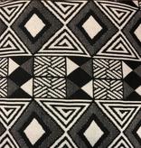 AKN Fabrics African Woven Kente Cloth Black and Cream Geometric Rows of Diamonds
