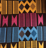 AKN Fabrics African Woven Kente Cloth Cyan, Gold, Magenta Geometric Stripes