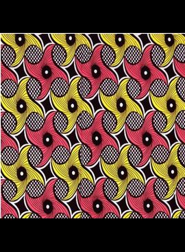 Fabrics USA Inc African Wax Print - Peach and Yellow Swirls on Checkered background