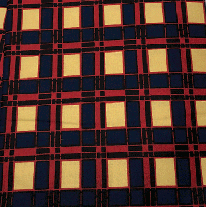 Fabrics USA Inc African Wax Print - Blue, Red and Beige Plaid