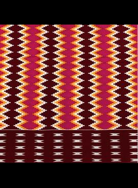 Fabrics USA Inc African Wax Print -  Red, orange and hot pink tribal zig-zag