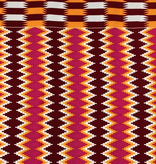 Fabrics USA Inc African Wax Print -  Red, orange and hot pink tribal zig-zag