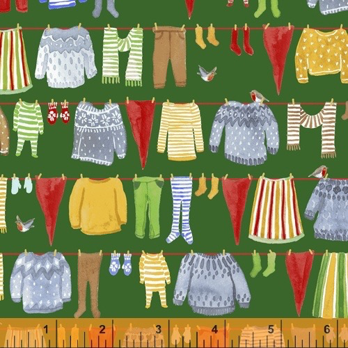 Windham Fabrics Winter Gnomes Green Laundry