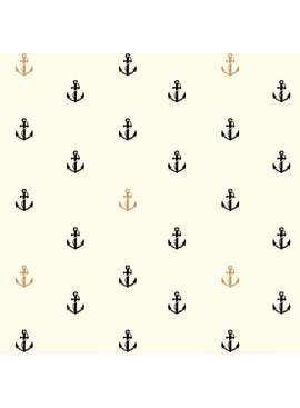 Birch Fabrics Inkwell: Little Anchors in Black/Metallic Organic Poplin