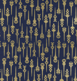 Cotton + Steel Akoma by Rashida Coleman-Hale Pin Up Navy Metallic