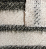 S. Rimmon & Co. Brushed Wool Coating White with Dark Olive Stripe