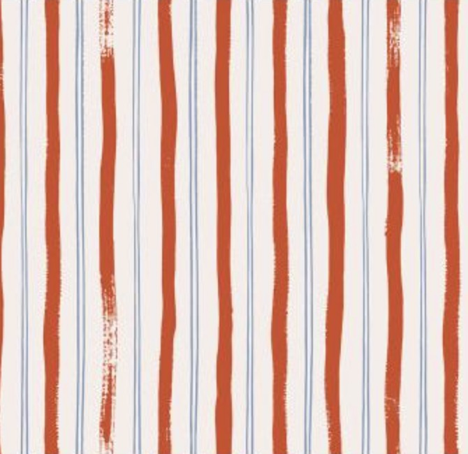 Cotton + Steel Meadow by Rifle Paper Co. Stripes Red