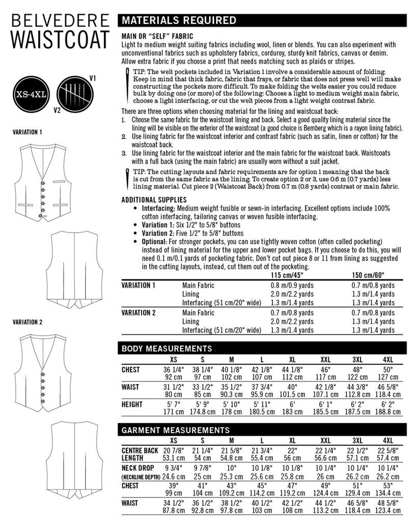 Thread Theory Thread Theory Belvedere Waistcoat Vest pattern