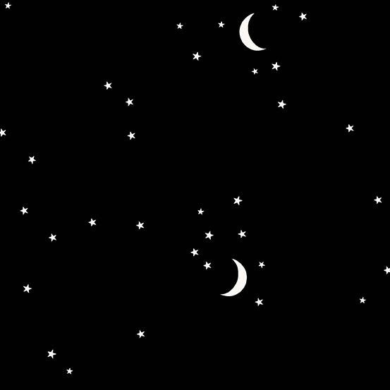 Andover Moon and Stars Black by Andover Fabrics
