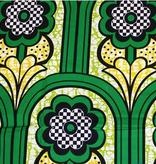Fabrics USA Inc Ankara Wax Print- Hollandais Block Wax—Kelly Green Flowers in Arches