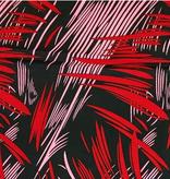Fabrics USA Inc Ankara Wax Print— Red and Pink Brush Strokes on Black